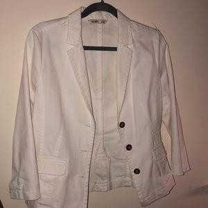 3/4 length white blazer